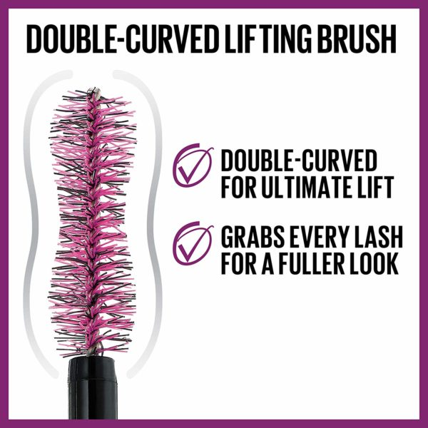 Close up of the double curved hourglass wand for fuller lashes look