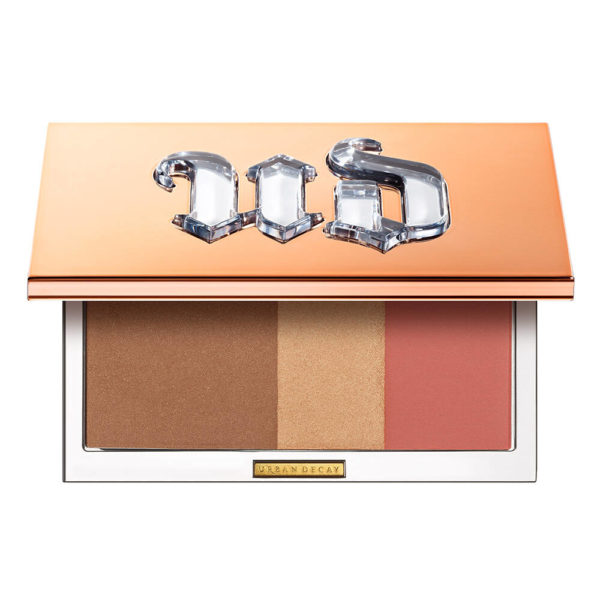 Image showing the palette open with the bronzer, highlighter and blush shades