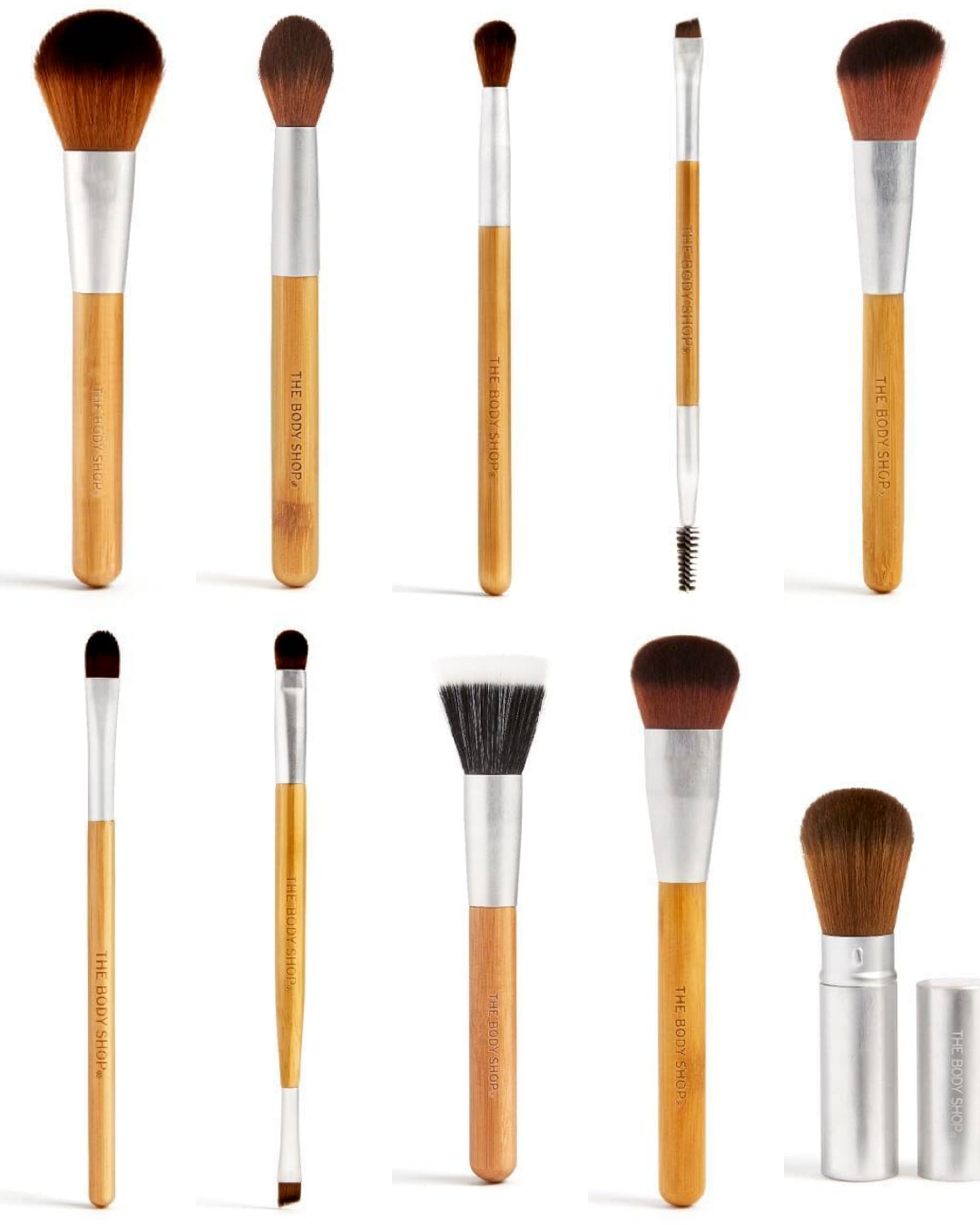 The Body Shop Bamboo Makeup Brush Collection 10 New Brushes