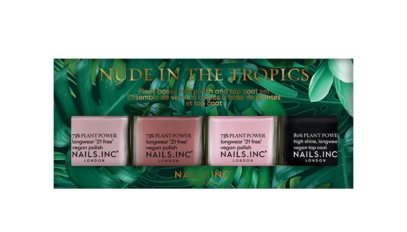 Nails Inc Nude In The Tropics Plant Based Nail Polish and Top Coat Set